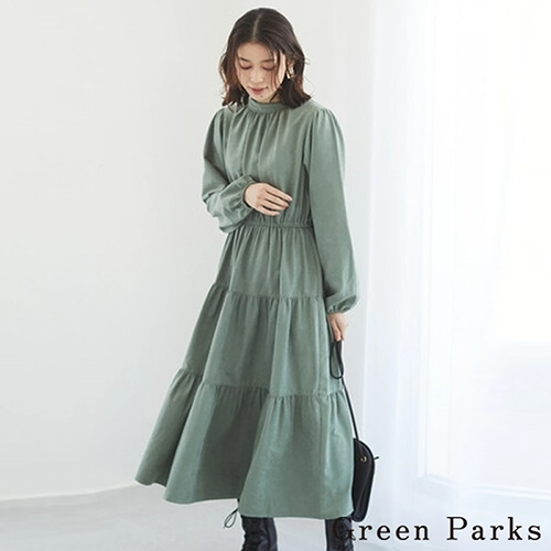 earth music&ecology Green Parks仿麂皮分層式連身洋裝
