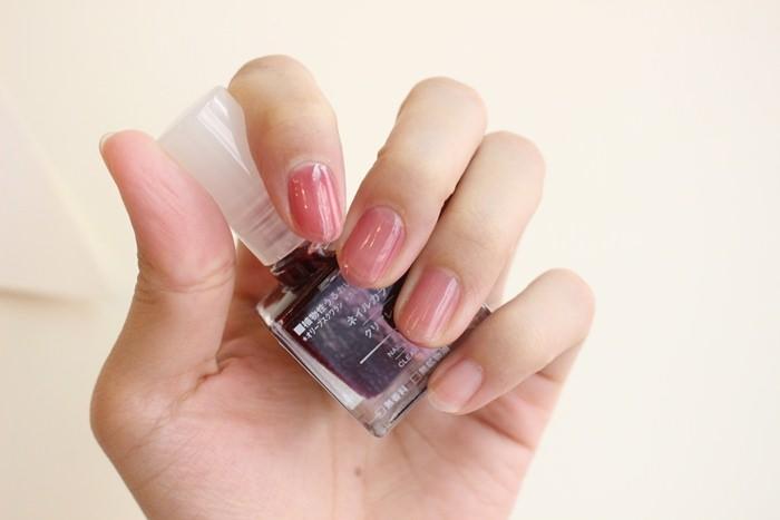 MUJI好物 無印良品血色指甲油 透明紅 clear red 試色 漸層 腮紅指甲 葡萄紅 半透明指甲油 IG大紅 (28)