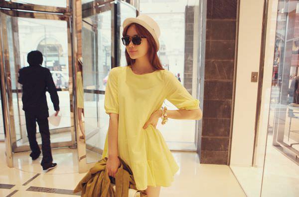 穿搭♥淘寶partysu款黃色短洋裝