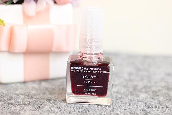 MUJI好物 無印良品血色指甲油 透明紅 clear red 試色 漸層 腮紅指甲 葡萄紅 半透明指甲油 IG大紅 (19)